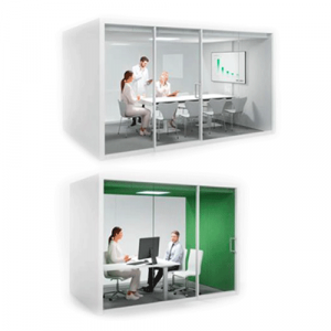 Different sized enclosed meeting spaces