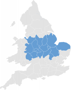 A Map of England showing the Central regions highlighted