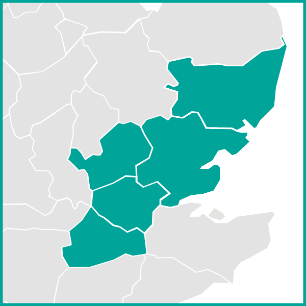 Map Showing London Area Essex and Suffolk