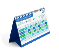 The Multi Trust Aggregation (MTA) Calendar shown as a desk calendar with the key dates highlighted in shades of blue and green.