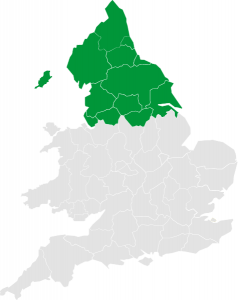 A Map of England showing the Northern regions highlighted