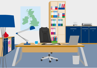 Office Furnishings and Solutions Illustration
