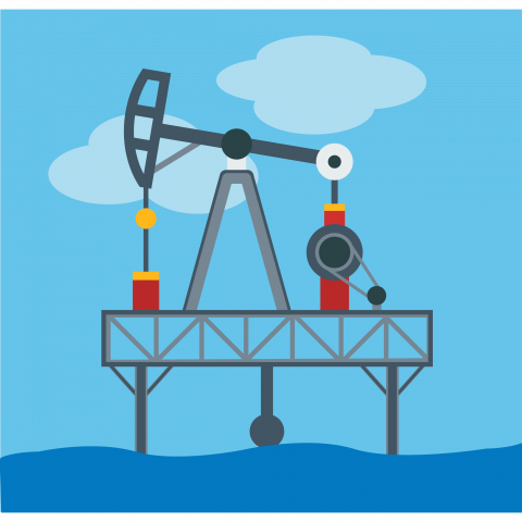 Illustration of Oil Rig in the Sea