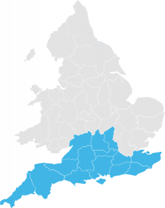 A Map of England showing the South regions highlighted