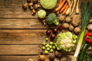 Autumn vegetables on wooden table