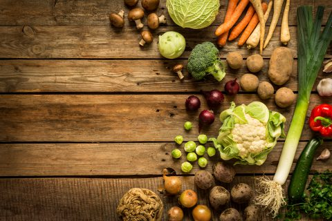 Winter Vegetables on wooden table
