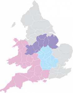 Map of England and Wales with Central and South West highlighted.