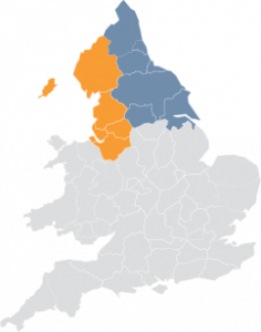 Map of England and Wales with North highlighted.