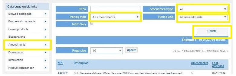 Screen visual of the online catalogue amendments section