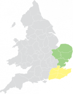 Map of England and Wales with South and East highlighted.